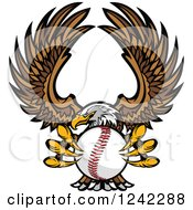 Clipart Of A Fierce Bald Eagle Flying With A Baseball In Its Talons Royalty Free Vector Illustration