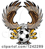 Clipart Of A Fierce Bald Eagle Flying With A Soccer Ball In Its Talons Royalty Free Vector Illustration by Chromaco