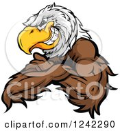 Clipart Of A Fierce Bald Eagle Mascot Grinning With Folded Arms Royalty Free Vector Illustration