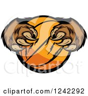 Clipart Of A Bear Claws Tearing A Basketball Royalty Free Vector Illustration