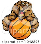 Clipart Of A Friendly Bear Sports Mascot Holding Out A Basketball Royalty Free Vector Illustration by Chromaco