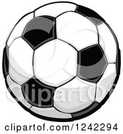 Clipart Of A Black And White Soccer Ball Royalty Free Vector Illustration by Chromaco