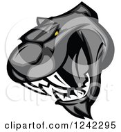 Clipart Of A Vicious Roaring Black Panther Head Royalty Free Vector Illustration
