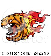 Screaming Basketball Mascot With A Trail Of Flames
