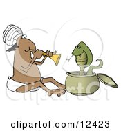 Male Indian Snake Charmer Man Playing Music For A Swaying Cobra In A Basket Clipart Illustration