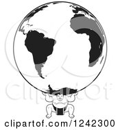 Clipart Of A Black And White Sumo Wrestler Holding Up A Globe Royalty Free Vector Illustration by Lal Perera