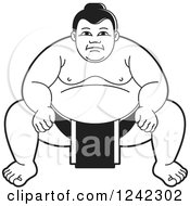 Clipart Of A Black And White Sumo Wrestler Crouching Royalty Free Vector Illustration by Lal Perera