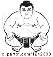 Clipart Of A Black And White Sumo Wrestler Crouching 2 Royalty Free Vector Illustration by Lal Perera