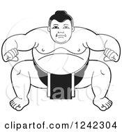 Black And White Sumo Wrestler Crouching 3