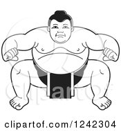 Clipart Of A Black And White Sumo Wrestler Crouching 3 Royalty Free Vector Illustration by Lal Perera
