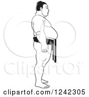 Clipart Of A Black And White Sumo Wrestler Royalty Free Vector Illustration by Lal Perera