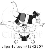 Clipart Of Black And White Male And Female Sumo Wrestlers Fighting Royalty Free Vector Illustration by Lal Perera
