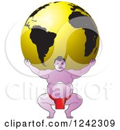 Clipart Of A Sumo Wrestler Holding Up A Gold Globe Royalty Free Vector Illustration by Lal Perera