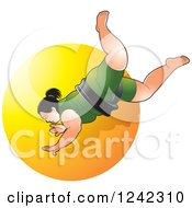 Clipart Of A Female Sumo Wrestler Over A Yellow Circle Royalty Free Vector Illustration by Lal Perera