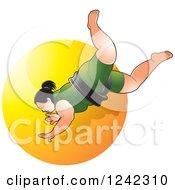 Female Sumo Wrestler Over A Yellow Circle