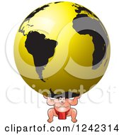 Clipart Of A Sumo Wrestler Carrying A Gold Globe Royalty Free Vector Illustration by Lal Perera