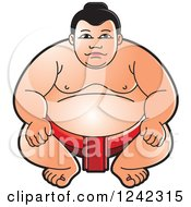 Clipart Of A Crouching Sumo Wrestler In Red Royalty Free Vector Illustration by Lal Perera