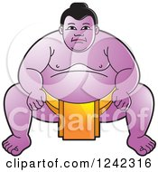 Clipart Of A Crouching Sumo Wrestler In Yellow Royalty Free Vector Illustration by Lal Perera