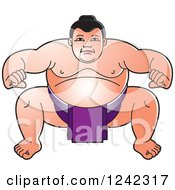 Clipart Of A Crouching Sumo Wrestler In Purple Royalty Free Vector Illustration by Lal Perera