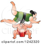 Clipart Of Male And Female Sumo Wrestlers Fighting Royalty Free Vector Illustration by Lal Perera