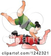 Clipart Of Female Sumo Wrestlers Fighting Royalty Free Vector Illustration by Lal Perera