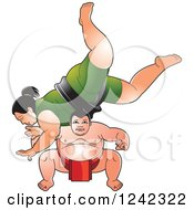 Clipart Of Male And Female Sumo Wrestlers Fighting 2 Royalty Free Vector Illustration by Lal Perera