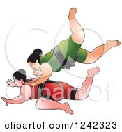 Clipart Of Female Sumo Wrestlers Fighting 2 Royalty Free Vector Illustration by Lal Perera