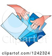 Clipart Of Hands Splaying Out Red Orange And Yellow Papers Royalty Free Vector Illustration by Lal Perera