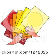Clipart Of Hands Splaying Out Blue Papers Royalty Free Vector Illustration by Lal Perera