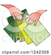 Clipart Of Hands Splaying Out Green Papers Royalty Free Vector Illustration by Lal Perera