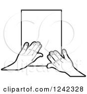 Clipart Of Black And White Hands Over Paper Royalty Free Vector Illustration by Lal Perera