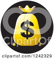 Clipart Of A Gold Money Bag With A Dollar Symbol Icon Royalty Free Vector Illustration by Lal Perera