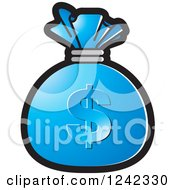 Clipart Of A Blue Money Bag With A Dollar Symbol Royalty Free Vector Illustration by Lal Perera