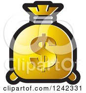 Clipart Of A Golden Money Bag With A Dollar Symbol Royalty Free Vector Illustration by Lal Perera