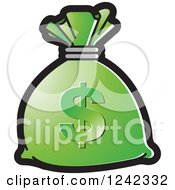 Clipart Of A Green Money Bag With A Dollar Symbol Royalty Free Vector Illustration by Lal Perera