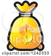 Clipart Of A Yellow And Orange Money Bag With A Dollar Symbol Royalty Free Vector Illustration by Lal Perera