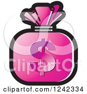 Clipart Of A Pink Money Bag With A Dollar Symbol Royalty Free Vector Illustration by Lal Perera