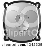 Clipart Of A Silver Money Bag With A Dollar Symbol Royalty Free Vector Illustration by Lal Perera