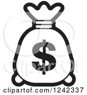 Clipart Of A Black And White Money Bag With A Dollar Symbol Royalty Free Vector Illustration by Lal Perera