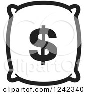 Clipart Of A Black And White Money Bag With A Dollar Symbol 4 Royalty Free Vector Illustration by Lal Perera