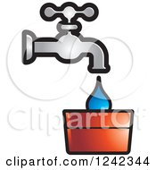 Clipart Of A Leaky Water Faucet Spigot And Bucket Royalty Free Vector Illustration