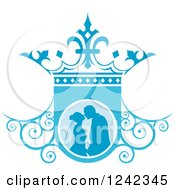 Clipart Of A Silhouetted Wedding Couple About To Kiss In Ablue Ornate Crown Shield Royalty Free Vector Illustration
