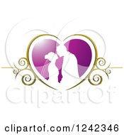 Clipart Of A Silhouetted Wedding Couple About To Kiss In A Purple And Gold Swirl Heart Royalty Free Vector Illustration