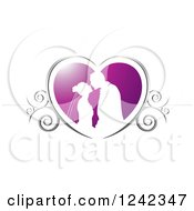 Clipart Of A Silhouetted Wedding Couple About To Kiss In A Purple And Silver Swirl Heart Royalty Free Vector Illustration