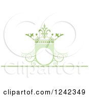 Clipart Of A Green Wedding Crown Shield Frame With Swirls Royalty Free Vector Illustration by Lal Perera