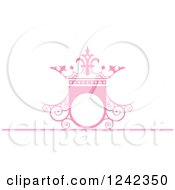 Pink Wedding Crown Shield Frame With Swirls