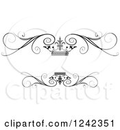 Clipart Of A Black And White Crown And Swirl Flourish Wedding Frame Royalty Free Vector Illustration by Lal Perera