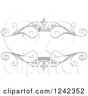 Clipart Of A Silver Crown And Swirl Flourish Wedding Frame Royalty Free Vector Illustration by Lal Perera