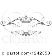 Clipart Of A Black And White Crown And Swirl Flourish Wedding Frame 2 Royalty Free Vector Illustration by Lal Perera
