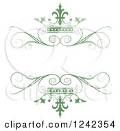 Clipart Of A Green Crown And Swirl Flourish Wedding Frame Royalty Free Vector Illustration by Lal Perera